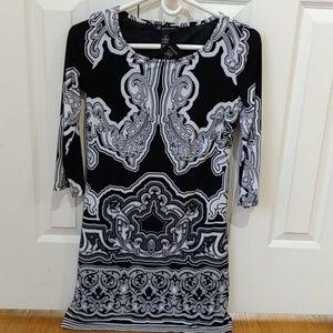INC women's 3/4 sleeve dress black white petit